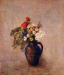 odilon redon bouquet of flowers in a blue vase iii painting 28514
