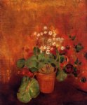 odilon redon flowers in a pot on a red background painting 28568