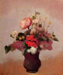 odilon redon flowers in aa brown vase painting 28574