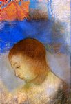 portrait paintings - portrait of ari redon in profile by odilon redon