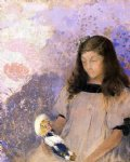 portrait paintings - portrait of simone fayet by odilon redon
