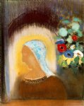 odilon redon profile and flowers painting 28634