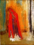 woman in red by odilon redon painting