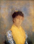 woman with a yellow bodice by odilon redon painting