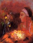 woman with flowers ii by odilon redon painting