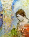 woman with pillar of flowers by odilon redon painting