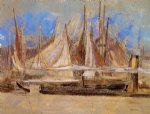 yachts at royan by odilon redon painting