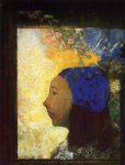 young girl in a blue bonnet by odilon redon painting