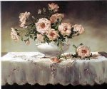 original a bunch of pink flowers in a white porcelain vase painting 28245