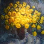 original paintings a bunch of yellow flowers painting