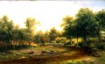 original paintings a herd of cattle drinking by the river painting