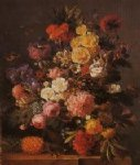 original a pineapple by a bunch of flowers painting 28272