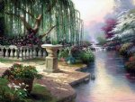 original a weeping willow by the river of a park by original paintings painting