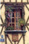 original a window and some flowers painting 28284