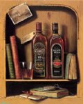 original books two bottles of grape wine on the shelf paintings: 28298