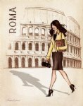 original fair lady walking on the road of rome by original paintings painting-28312