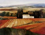 original field with a white cottage by original paintings painting-28314
