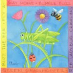 original flowers and bee grasshopper coccinella by original paintings painting-28316