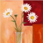 original four white chrysanthemums in a glass by original paintings painting-28317