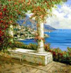 original paintings - original mediterranean scene column by original paintings