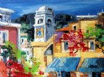 original paintings - original mediterranean scenery a bell tower and a group of buildings by original paintings