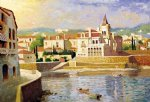original paintings - original mediterranean scenery a group of buildings by the river by original paintings