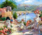 original paintings mediterranean scenery buildings and bridge oil paintings