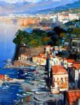 original paintings - original mediterranean scenery houses on the coast by original paintings