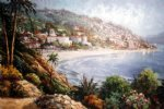 original paintings - original mediterranean scenery the coast starlight by original paintings