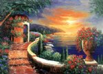 original paintings - original mediterranean scenery the coastal scenery in the early morning light by original paintings