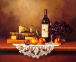 original paintings several books a bottle of red wine and some fruits on the table paintings