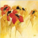 original some red and yellow flowers painting 28430