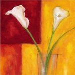 original two white flowers in a glass painting 28452