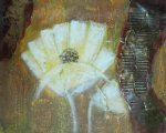 original white flower fan painting 28455
