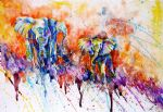 original   abstract elephants painting-86709
