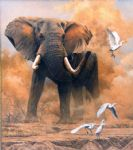 original   dusty elephant with egrets painting-86713