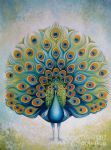 one peacock by original painting