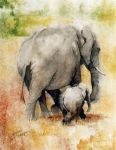 original   two elephants painting-86740