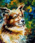 original abstract brown dog painting-86520