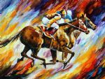 original abstract final spurt horses painting-86525