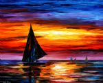 original away from the sunset seascape painting 86556