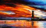 by the lighthouse seascape by original painting