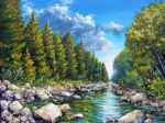 original canada mountain scenery landscape painting