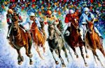 original horse race on the snow paintings