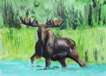original moose in river ron enderland canada animal painting-86477