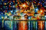 night harbour by original painting