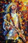 original rock guitarist music player painting
