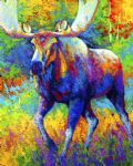 original the urge to merge bull moose marion rose canada animal painting-86500