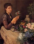 otto scholderer girl cutting flowers painting 28233