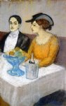pablo picasso man and woman a the table angel fernandez de soto and his friend paintings